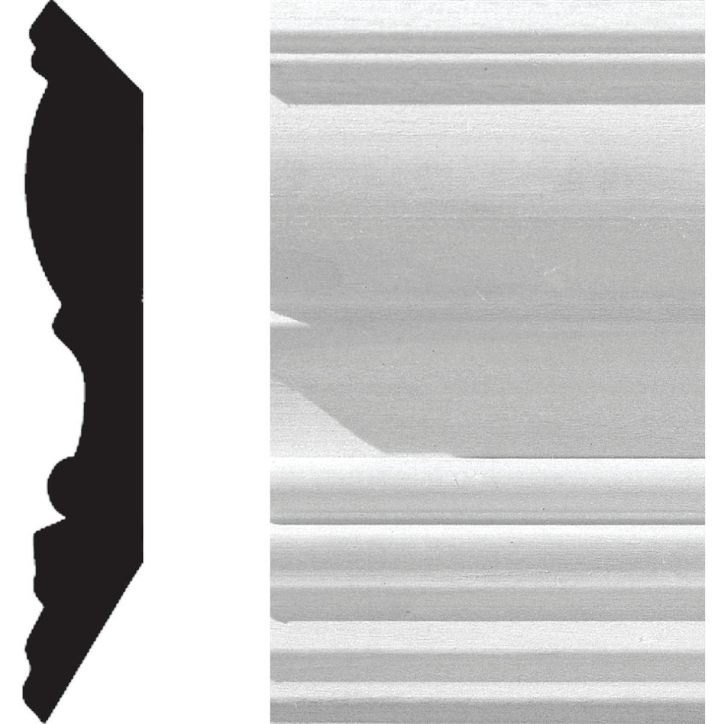 House of Fara 3/4 In. W. x 4-1/2 In. H. x 8 Ft. L. White Primed MDF Detail Crown Molding Image 1