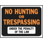 Hy-Ko Plastic Sign, No Hunting or Trespassing Image 1