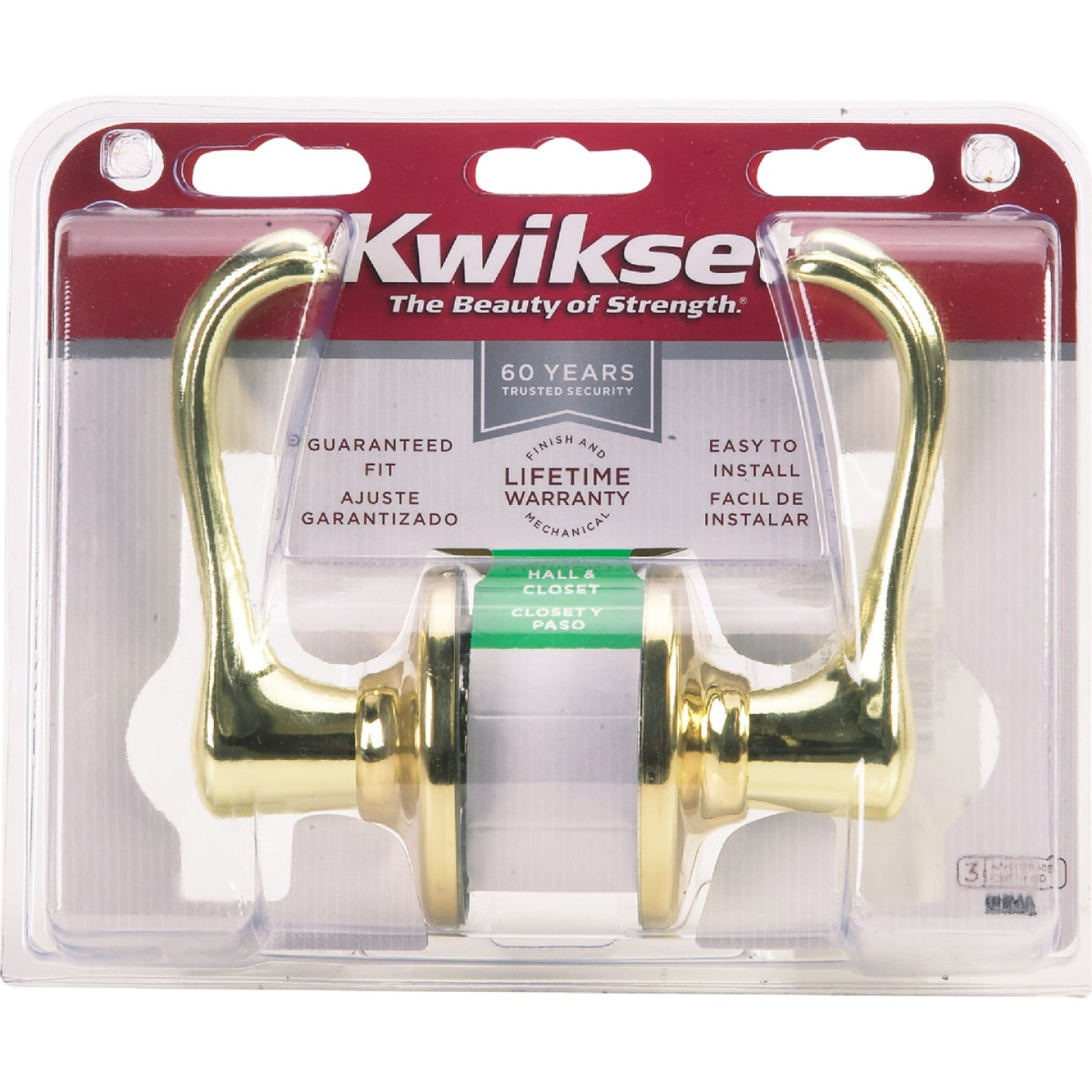 Kwikset Polished Brass Dorian Passage Door Lever Image 3