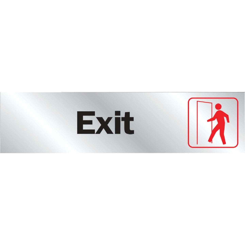Hy-Ko Brushed Aluminum Sign, Exit Image 1