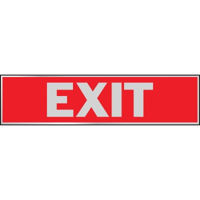 Hy-Ko Brushed Aluminum Sign, Exit