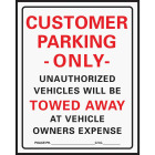 Hy-Ko Commercial Grade Plastic Sign, Customer Parking Only Image 1