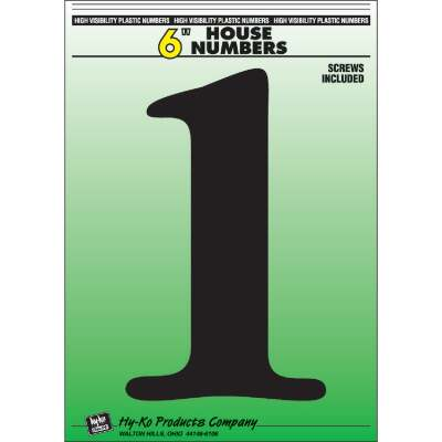 Hy-Ko 6 In. Black Gloss House Number One