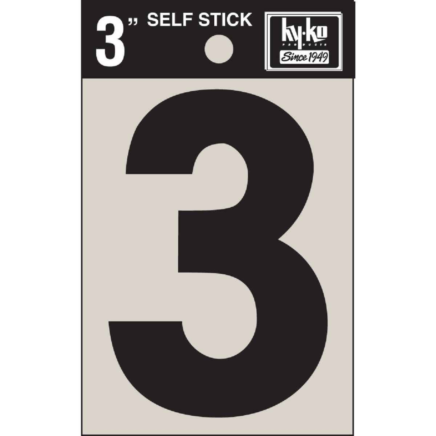 Hy-Ko Vinyl 3 In. Non-Reflective Adhesive Number Three Image 1