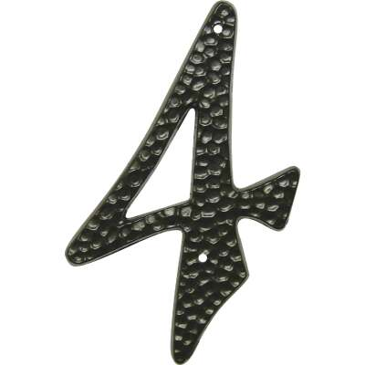 Hy-Ko 3-1/2 In. Black Hammered House Number Four