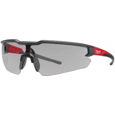 Milwaukee Red & Black Frame Safety Glasses with Gray Fog-Free Lenses