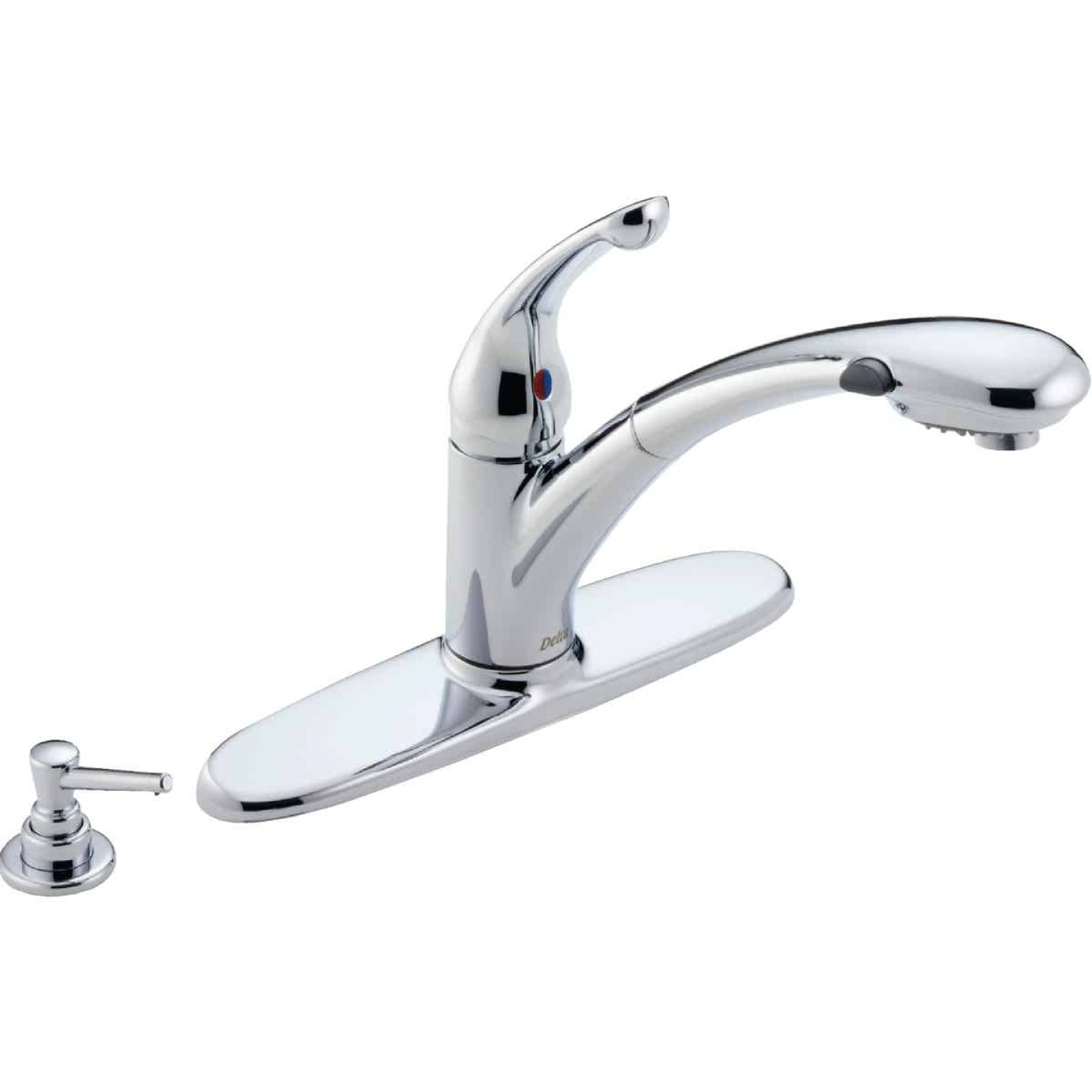 Delta Signature Single Handle Lever Pull-Out Kitchen Faucet with Soap Dispenser, Chrome Image 1