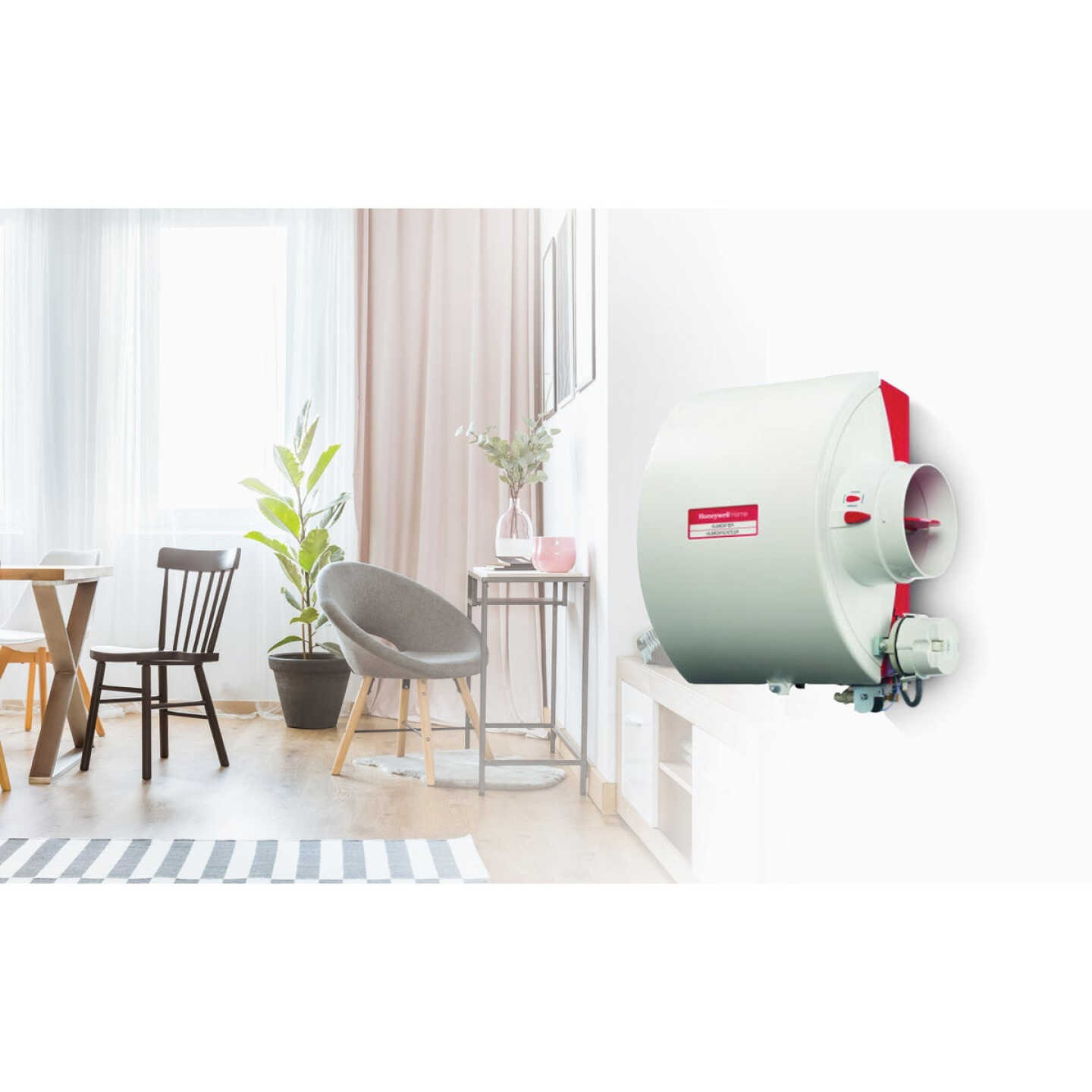 Honeywell Home 12.15 In. W. x 15.68 In. H. x 10.9 In. D. Whole House Flow-Thru Bypass Furnace Humidifier Image 2