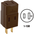 Leviton Brown 15A 3-Outlet Cube Tap Image 1