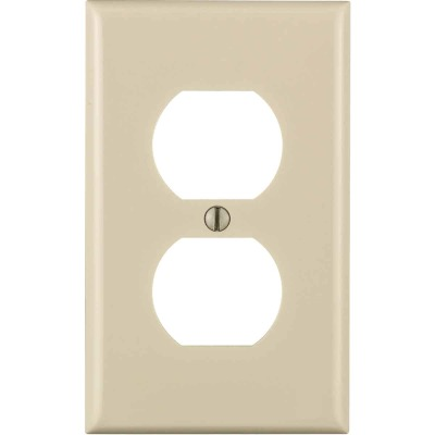 Leviton Commercial Grade 1-Gang Thermoplastic Outlet Wall Plate, Light Almond
