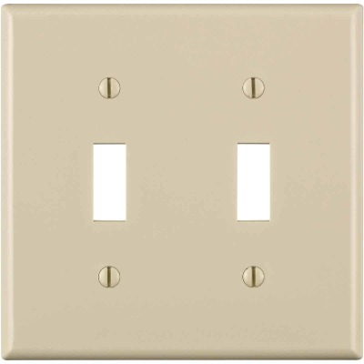 Leviton 2-Gang Thermoplastic Nylon Toggle Switch Wall Plate, Light Almond
