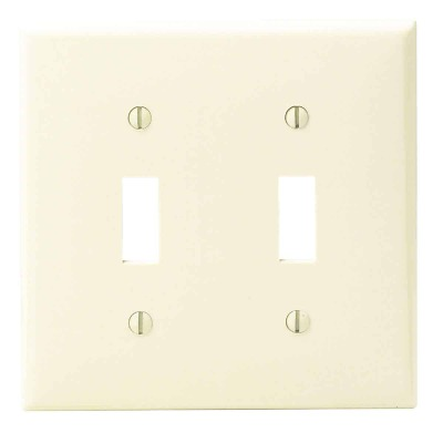 Leviton 2-Gang Thermoplastic Nylon Toggle Switch Wall Plate, Ivory