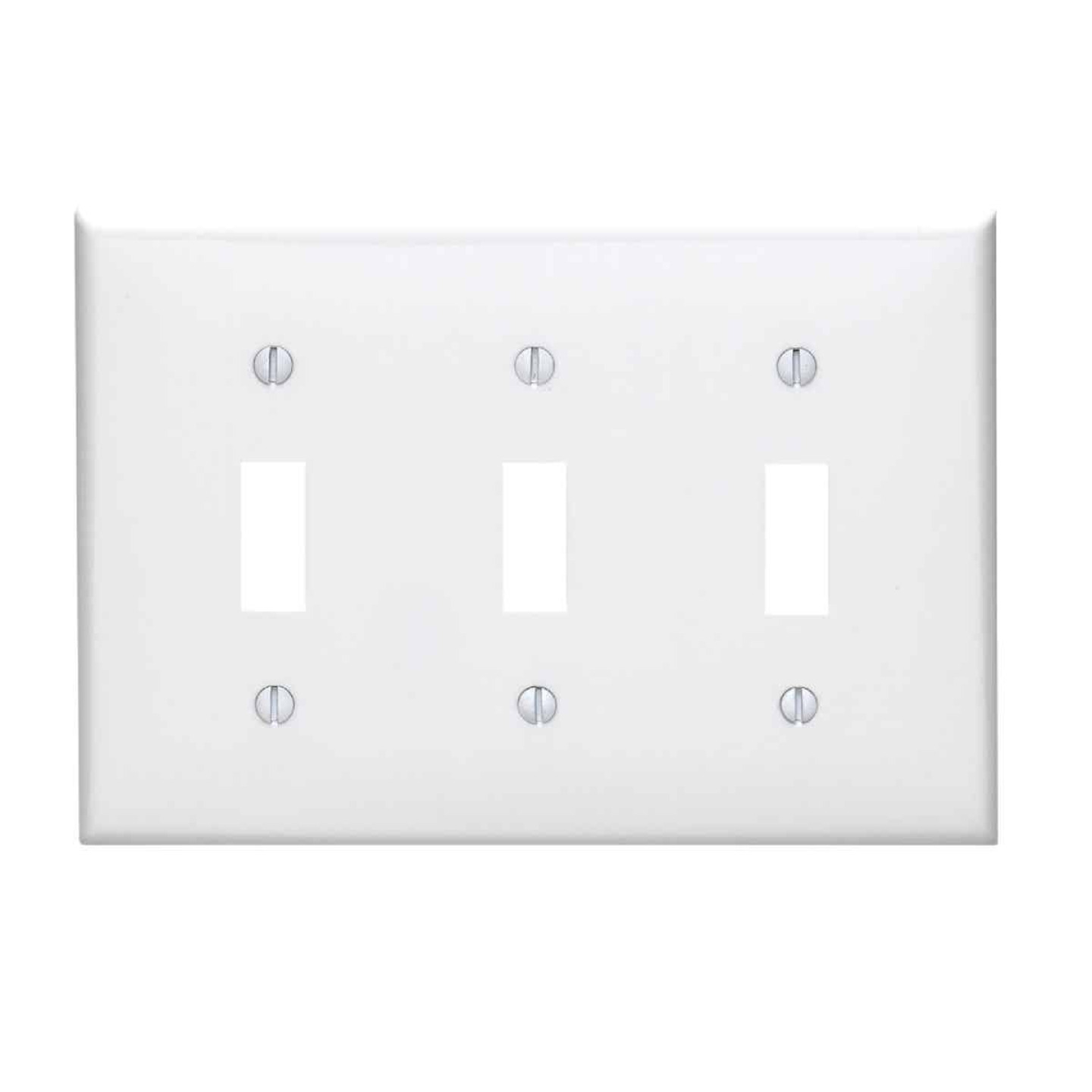 Leviton 3-Gang Thermoplastic Nylon Toggle Switch Wall Plate, White Image 1
