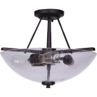 Home Impressions 15 In. Oil Rubbed Bronze Semi-Flush Mount Ceiling Light Fixture, Seeded Glass Image 1