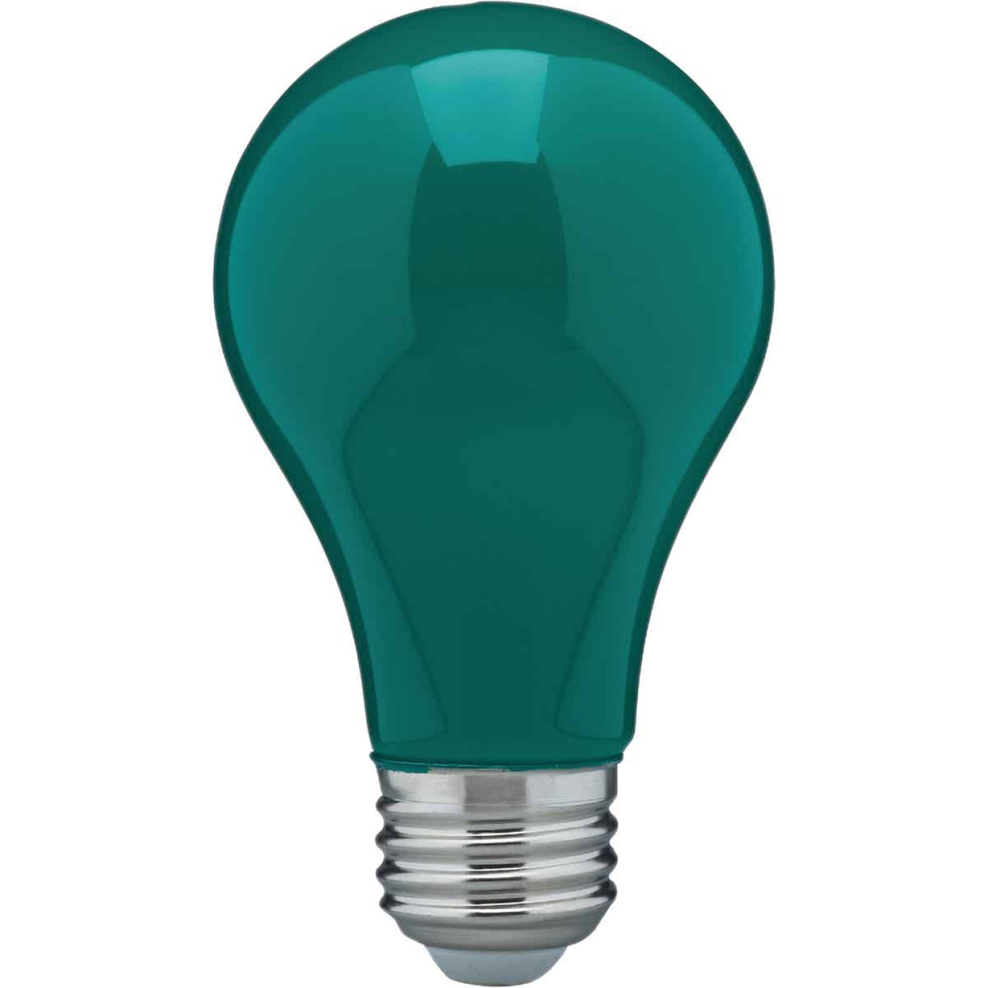 Satco Nuvo 60W Equivalent Green A19 Medium LED Party Light Bulb Image 1