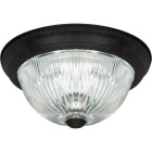 Home Impressions 13 In. Matte Black Flush Mount Ceiling Light Fixture, Clear Glass Image 1