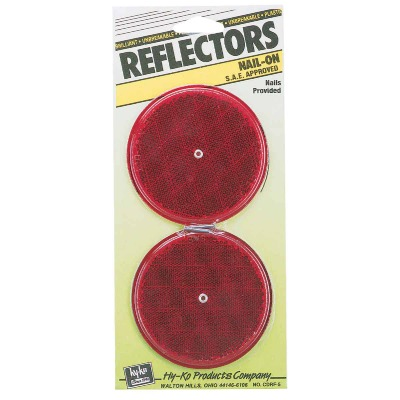 Hy-Ko 3-1/4 In. Dia. Round Red Nail-On Reflector (2-Pack)